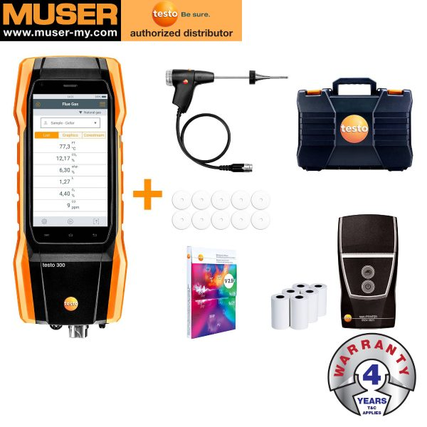 Testo Malaysia Testo 300 Longlife Kit 2 with Printer| Flue Gas Analyzer (O2, CO H2-compensated up to 30,000 ppm, NO - can be retrofitted)
