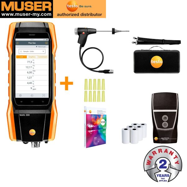 Testo Malaysia Testo 300 Kit 1 with Printer| Flue Gas Analyzer (O2, CO up to 4,000 ppm)